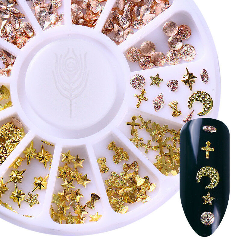 Rose Gold 3D Nail Art Strass Circle Star Round Mixed Dekorationen Tipps