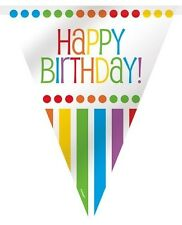 """RAINBOW BIRTHDAY Party 12"""" FLAG BANNER (Party/Decoration)"""