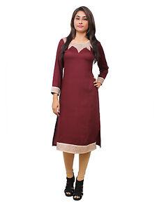 Vipakshi Women's Maroon Embroidered Rayon Kurti (RS-7700 Z)