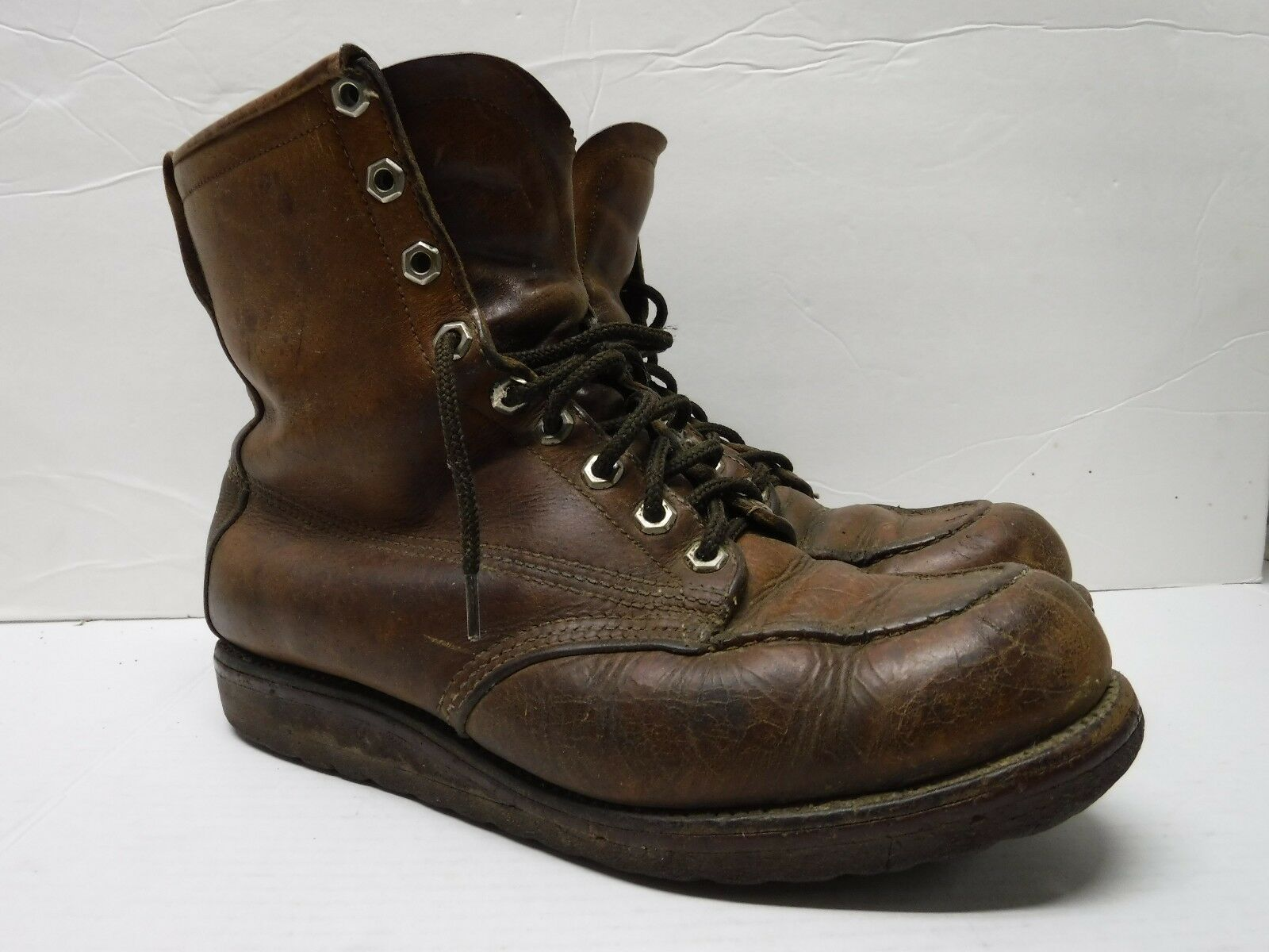 vtg HUDSON BAY Men's Size 9 C Hiking Work Insulated Brown Leather Boots