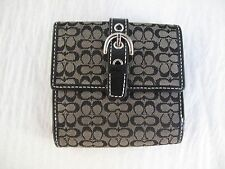 COACH WALLET BLACK SIGNATURE LOGO SILVER BUCKLE SMALL COIN CARD BILLS LEATHER
