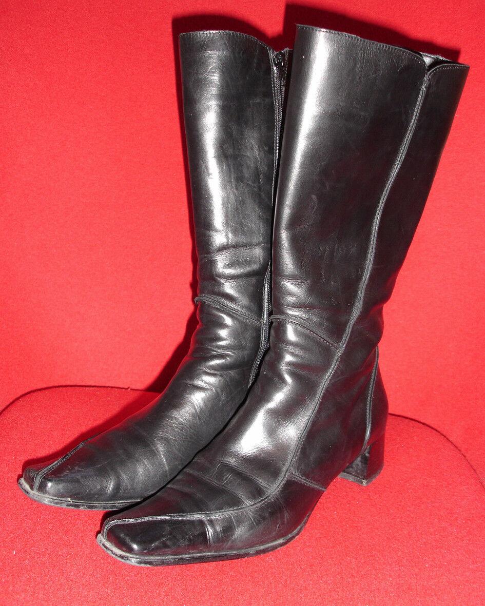 Italienische Stiefel, Leder, Karreeform, Größe Absatzhöhe 4cm, Größe Karreeform, 40 40 ... 3e9fdc