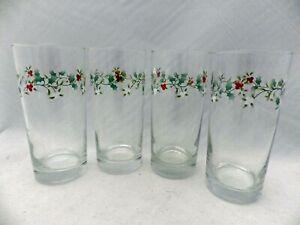 Pfaltzgraff Winterberry pattern - set/lot of 4 water glasses/Tumblers - EUC