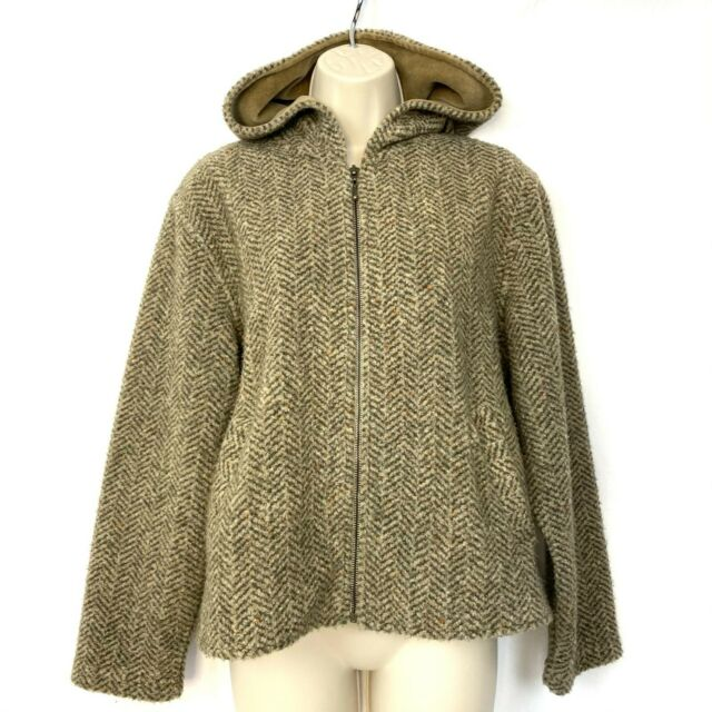 Saks Fifth Avenue Folio Hooded Jacket Womens Petite S/M Soft Tweed Brown Pockets