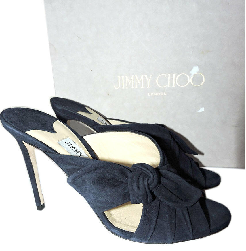 Jimmy Choo Marine Marine Marine Daim Keely Glissière Mules 39.5 Sandale Nœud Chaussures ced735