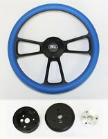 1970-1977 Ford F Series Truck Steering Wheel Sky Blue Grip On Black 14 Ford Cap