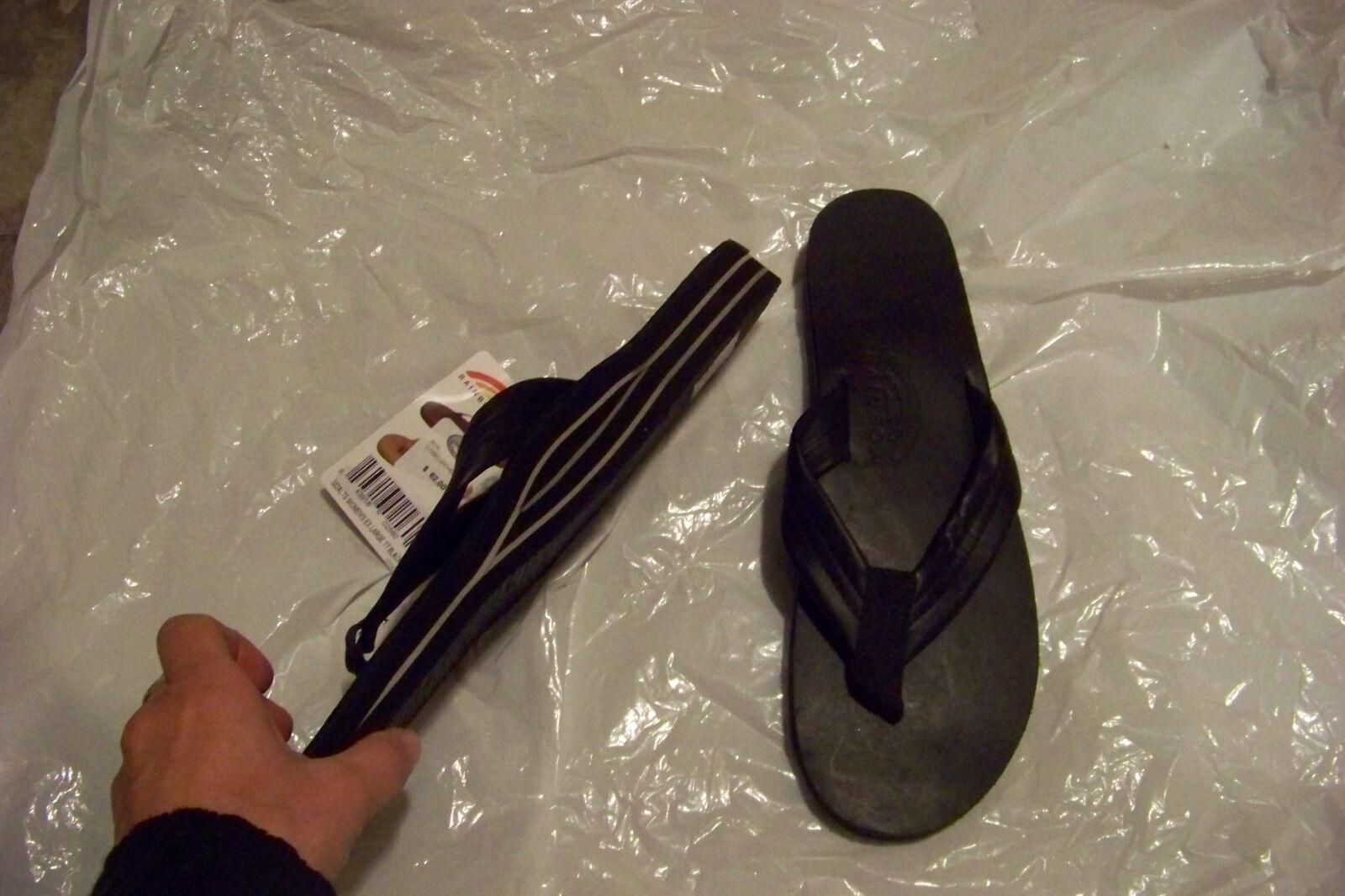 New Damenss rainbow schuhe classic schwarz Leder flip flops Sandales schuhe rainbow xl 8.5-9.5 06fe66
