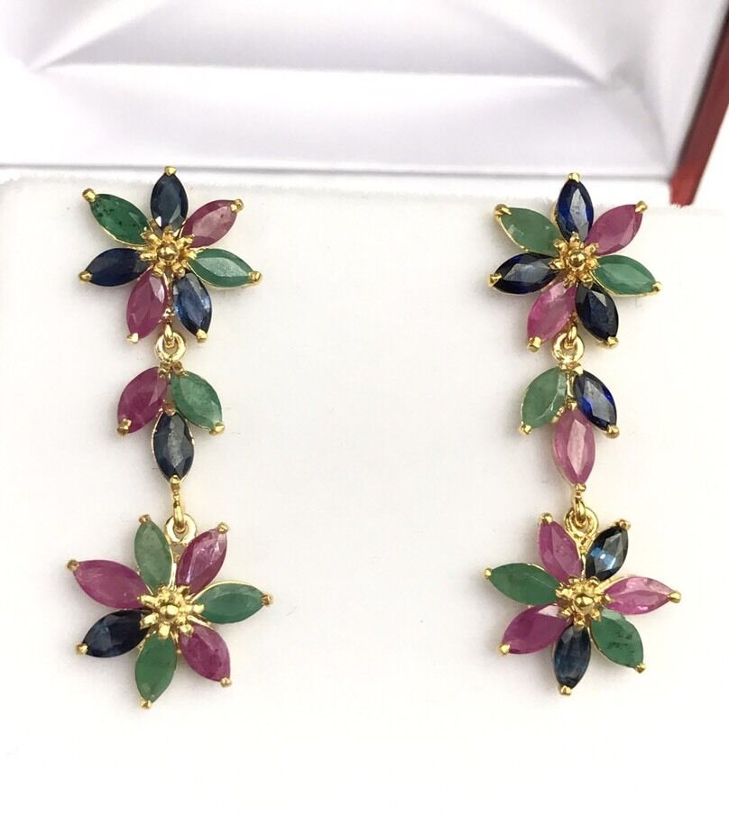 14k Solid Yellow gold Cluster Dangle Stud Earrings, Ruby Sapphire Emerald 5.5CT