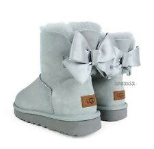 c7cc09eb6a0 UGG Mini Bailey Bow Stripe Seal Grey Suede Sheepskin BOOTS Sizes ...