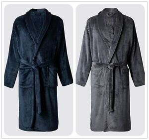 Luxury Mens Navy Charcoal Thermal Coral Fleece Dressing Gowns Soft