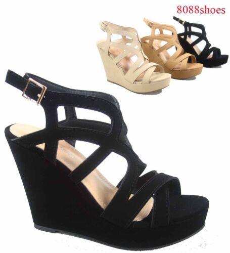 Women/'s Cute Strappy Wedge Open Toe Platform Fashion Sandal Shoes Size 5-10