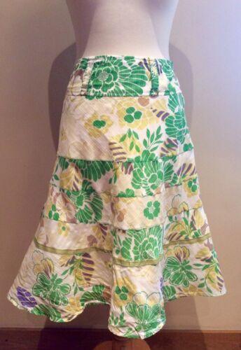 monsone 12 verde floreale bianco taglia cotone giallo Gonna Hxw7OdqH