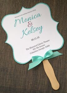 blue and purple personalized wedding program fans ebay
