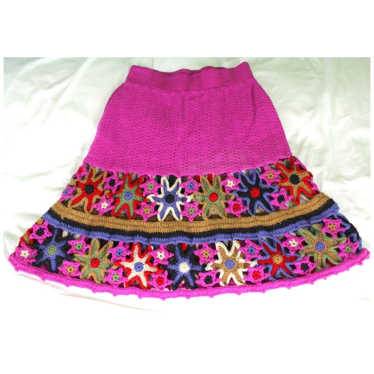 Peruvian Trading Co. Merino Wool Crochet Skirt One Size Magenta