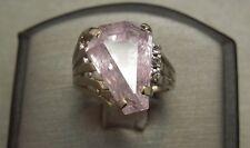 Vintage Retro Estate C1950 14K White Gold 10.07TCW Coffin Kunzite & Diamond Ring