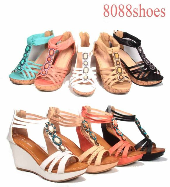 Women's Sexy Stone Pendant T-Strap Open Toe Wedge Heel Platform Sandal Size 5-10