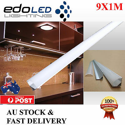 9x1M Corner Alloy channel Aluminium bar for Led Strip Light Cabinet Kitchen