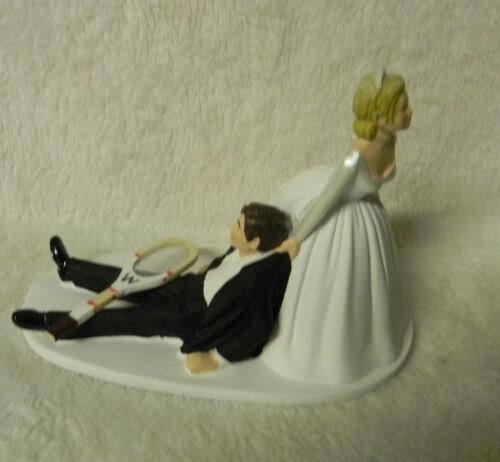 WEDDING Ceremony Reception Sport ~Tennis Racket Bride Dragging Groom Cake Topper