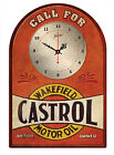 CASTROL WAKEFIELD MOTOR OIL RUSTIC  TIN SIGN CLOCK