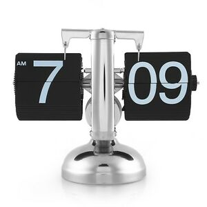 Retro Modern Digital Auto Flip Desk Clock Alarm Single Stand Desk Clock 12 Hour