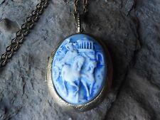 -GRECIAN CHARIOT CAMEO LOCKET (HAND PAINTED) - HORSE, HORSES, GREECE, BRONZE,