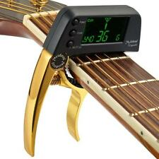 Multifunctional Aluminum Alloy 2-in-1 Guitar Capo Tuner LCD Screen Golden N6J8