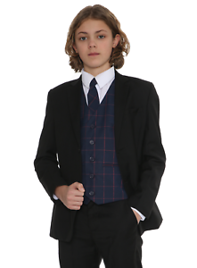 Boys-Suits-Boys-Check-costumes-Page-Garcon-Mariage-Prom-Party-Costume-Garcons-Costume-Noir-Un