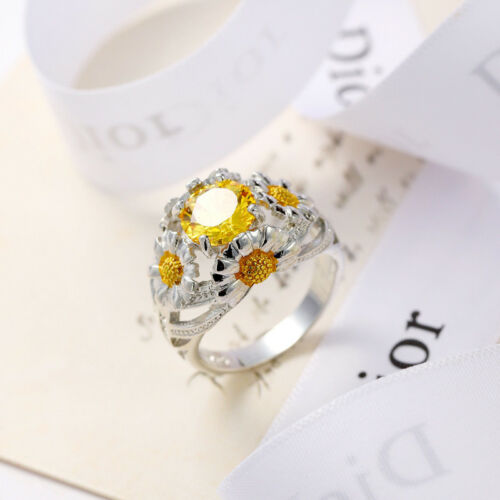 Woman Shiny Natural Flower Yellow Citrine Gold Plated Silver Woman Ring Sz 6-10