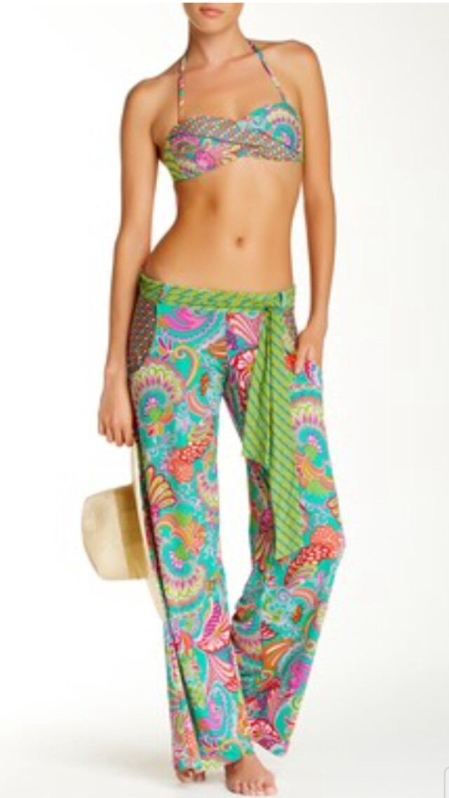 NWT  156  Sz L Trina Turk Folkloric Festival Swim Cover Pants