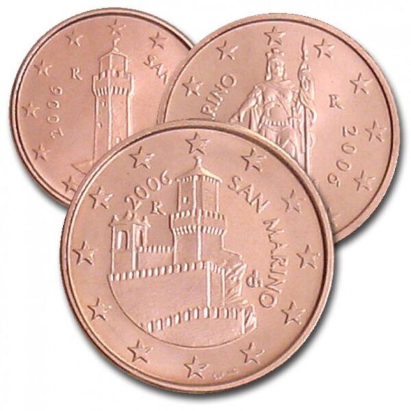 1 + 2 + 5 Cent 2006 -san Marino - Unc -neuve De Rouleau-