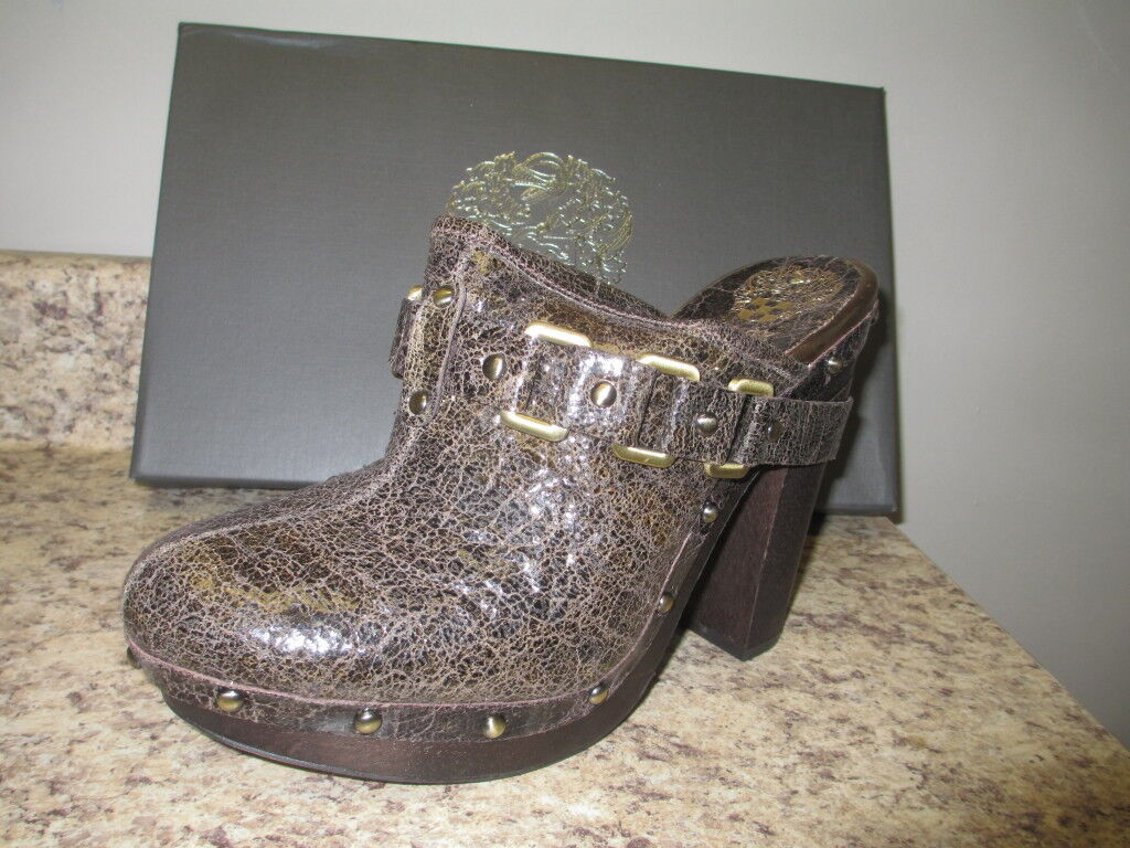 Vince Camuto Cover Mules Dark New Braun Cracked Distressed Leder New Dark with Box 4f8288