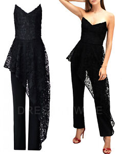 Coast-NEW-Hallie-Crochet-Lace-Overlay-Bandeau-Jumpsuit-in-Black-Sizes-8-to-16