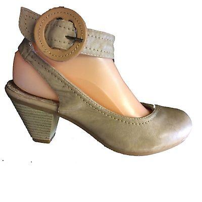 Hebilla señoras ajuste bajo corte y Correa en el tobillo Gris Topo Zapato Puntera Redonda