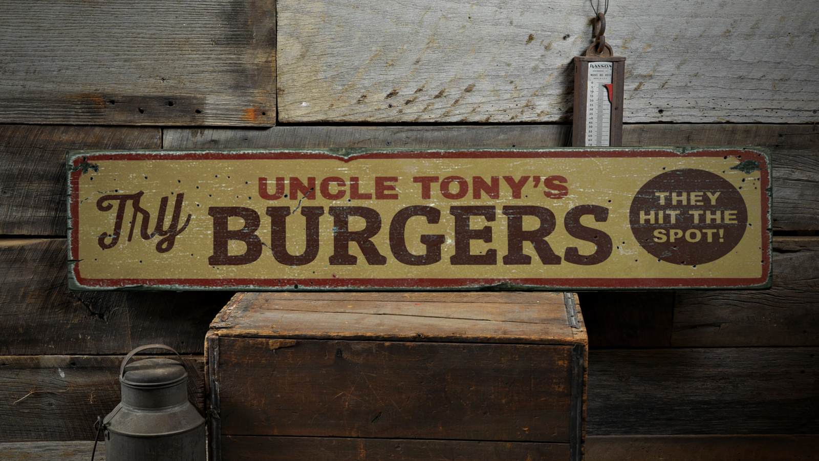 Try Burgers, They Hit The Spot Food - Rustic Distressed Wood Sign ENS1001690
