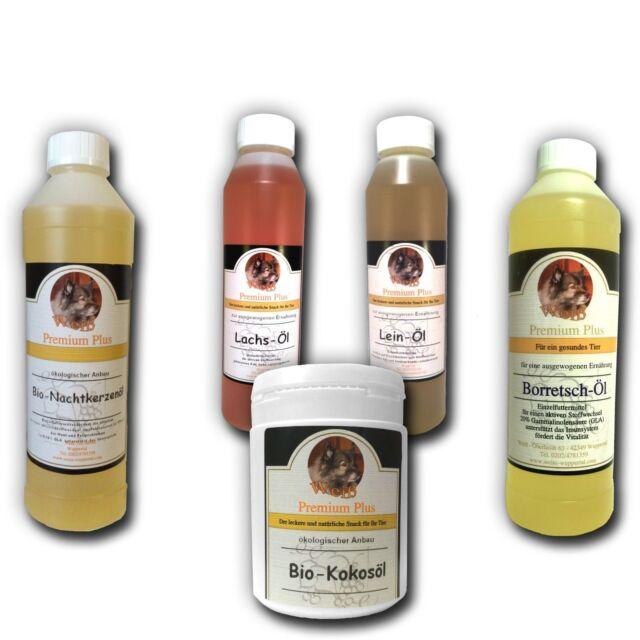 Weiß Premium Öl-Set:Borretsch-Nachtkerzen-Lachs-Lein-Öl (je250ml)+Kokos-Öl 180ml