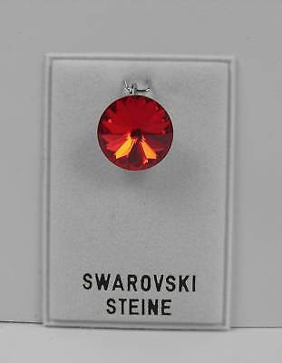 Temperamentvoll Neu KettenanhÄnger 14mm Swarovski Stein In Light Siam/rot AnhÄnger Für Halskette