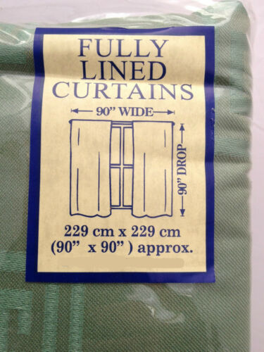 LUXURY FULLY LINED PENCIL PLEAT READY MADE JACQUARD CURTAINS in GREEN by DEANE