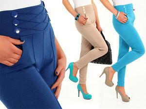 High-Waist-Stretch-Trousers-Chino-Women-Girls-Pants-Sizes-Uk-8-18-FA10