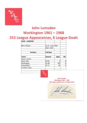 JOHN LUMSDEN WORKINGTON 19611968 RARE ORIGINAL HAND SIGNED CUTTINGCARD