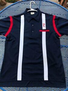 Vintage-Men-039-s-King-Louie-Bowling-Shirt-Large-Knit-Collared-Short-sleeved