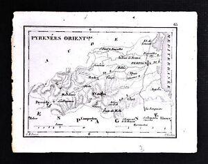 1833 Perrot Tardieu Map - Pyrenees Orientales Perpignan Puycerda Canigou France