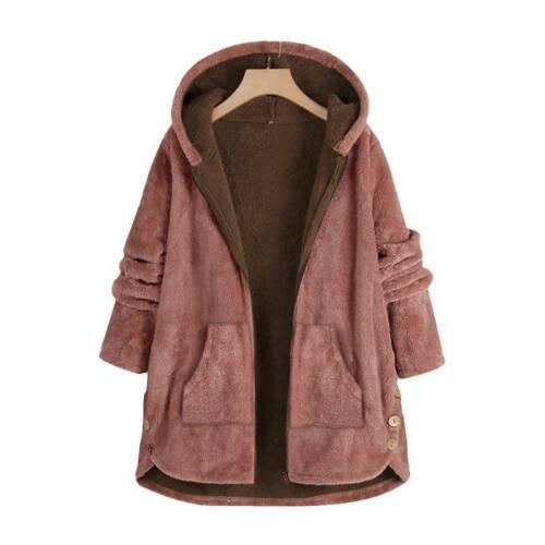 Women Winter Warm Fluffy Teddy Hoodie Hooded Coat Casual Loose Jacket Plus Size