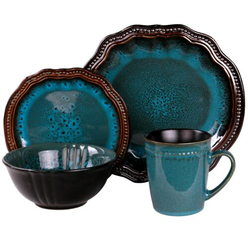 Kitchen Dishes Set Dinnerware Turquoise Oval Plate Modern Dining Cup Bowls 16 Pc