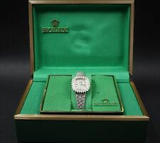 "Vintage Ladies Rolex 14k White Gold Diamond Watch 6"" Montres Box Papers CO137"