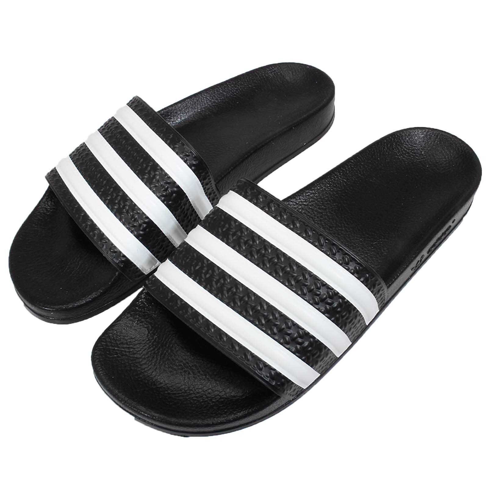 adidas Adilette W 3-Stripes Fekete Fehér Női Szandál Csúszda Papucs 072329