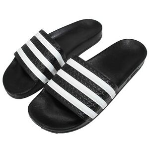 b96d7f930 adidas Adilette W 3-Stripes Black White Women Sandals Slides ...