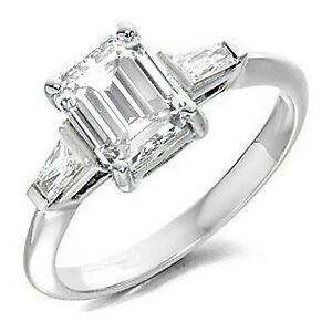 1.24 Ct Three Stone Emerald & Baguette Cut Diamond Engagement Ring I ...