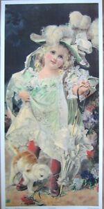 art-print-GOOD-MORNING-Victorian-little-girl-feather-hat-cat-child-vtg-rep-14x29