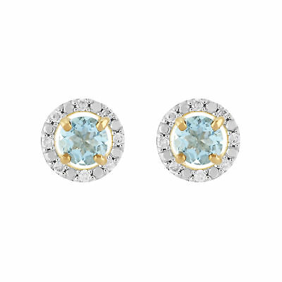 Diamonds & Gemstones 9 Ct Or Jaune Aigue-marine Boucles D'oreilles & Détachable Diamant Rond Oreille Fine Jewelry