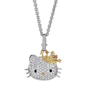 223a5a414 Kimora Lee Simmons Hello Kitty Diamond & Sapphire Necklace in 18kt ...